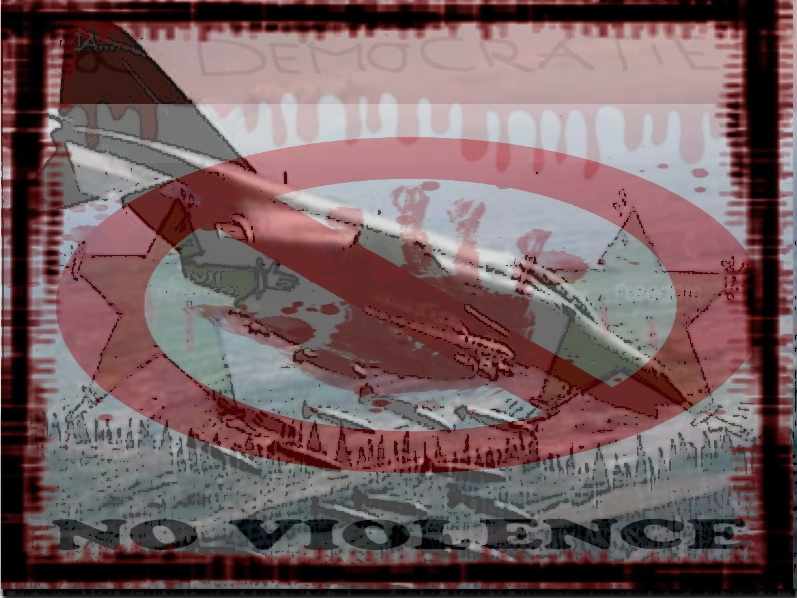montage artistique : sur fond d'un drapeau syrien très modifié dont le haut est sanglant et le bas comme une forêt noire; au centre une trace de peinture par une main rouge et signe d'interdiction par-dessus; on distingue un avion de chasse en filigrane. Au bas : NO VIOLENCE.